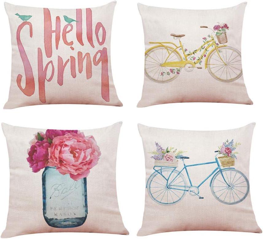 4 PC Primavera Fundas Cojines 45x45 Fossrn, Happy Spring Bicicleta Flor Funda de Almohada para Sofa Jardin Cama Decorativo