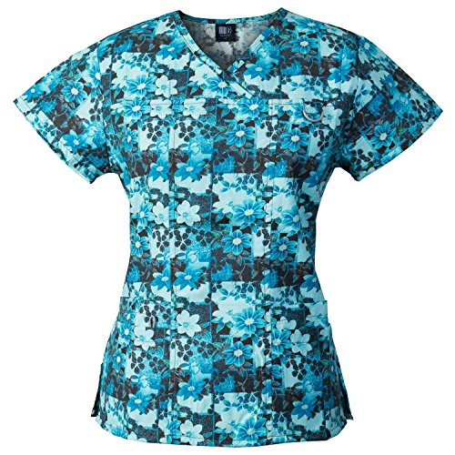 Medgear Women's Printed Scrub Top, ID Loop & 4 Pockets Medical Uniform FPDT