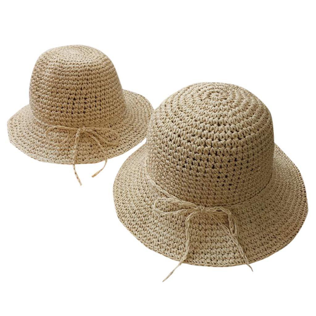 NANTE Hat Cap Baby Girls Summer Parent-Child Women Baby Kids Girl Beach Bow Straw Flat Brim Sun Hat Cap