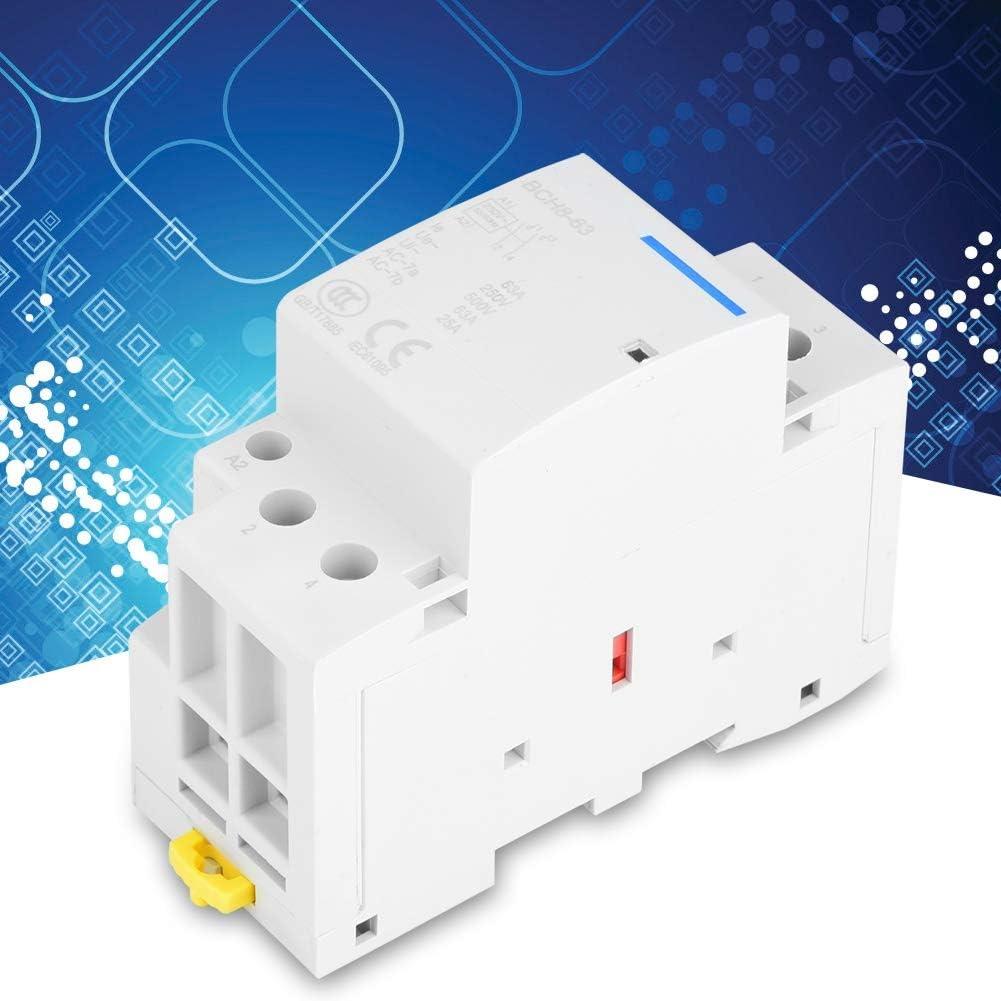 2P 2NO 63A 24V 220V//230V 50//60Hz Contactor de CA dom/éstico Montaje en carril DIN de 35 mm para aplicaciones dom/ésticas Contactor de CA 24V