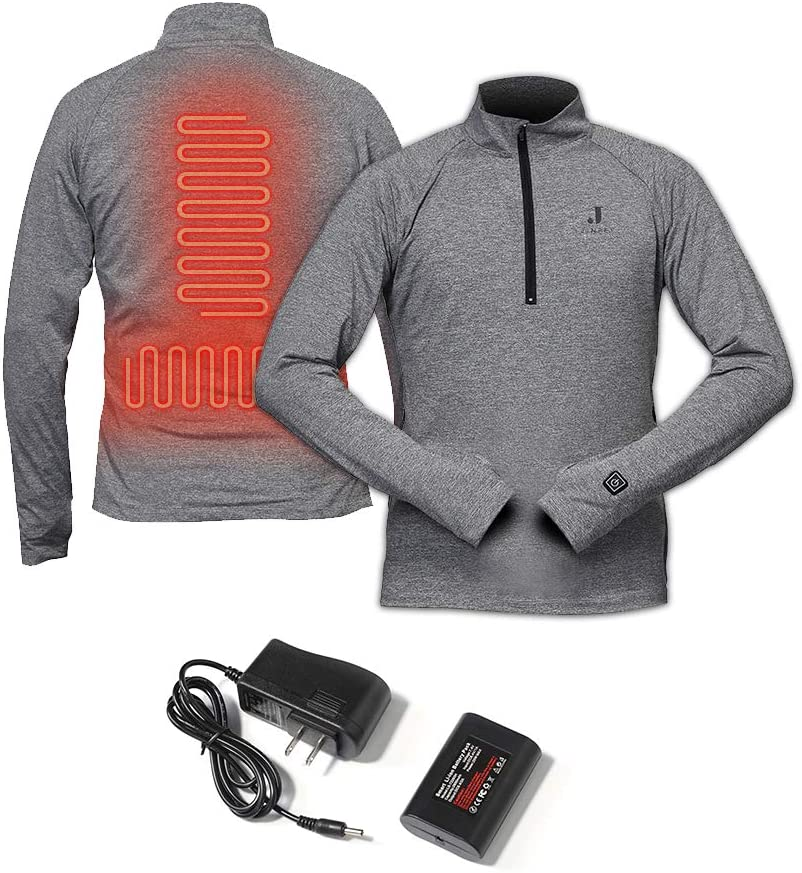 J JINPEI Heated Shirt Zip Pullover for Men and Women, Rechargeable Heated Base Layer Thermal Underwear, Winter Heating Sweatshirt