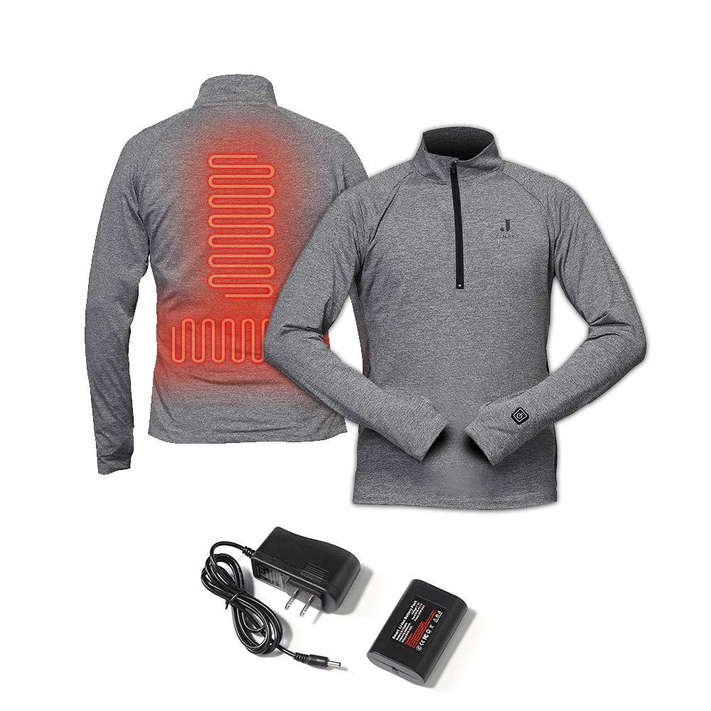 J-Jinpei ヒートアンダーウェア サーマルアンダーウェアセット ロングヒートトップ + ヒートパンツ 3000mAhバッテリーサーマル衣類 冬 スキー ハイキング オートバイ 旅行 釣り ゴルフ XS~3XL 3色 Large Dark gray (Only tops) B07HRHJBNQ