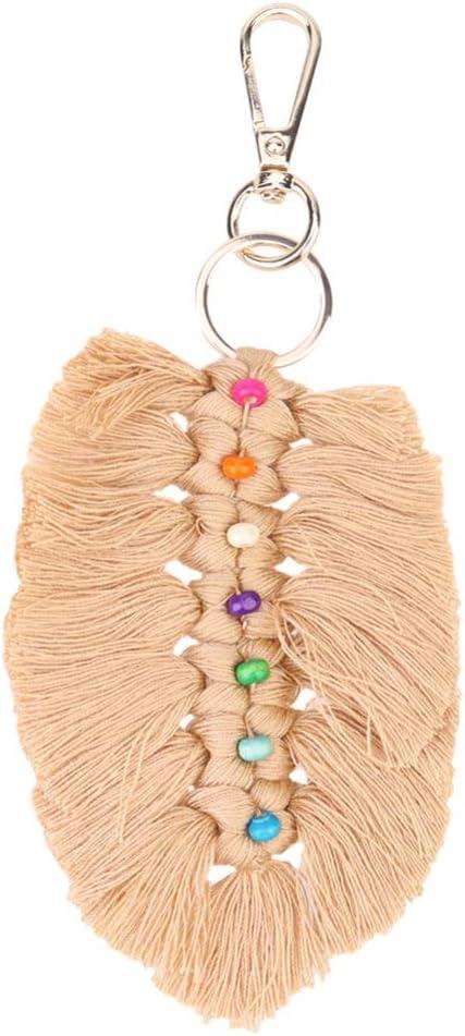 SUPVOX Tassel Keychain Bohemian Tassel Pendant Charm Keyring Bag Charm Key Rings for DIY Craft Wallet Purse Handbag Decoration Apricot