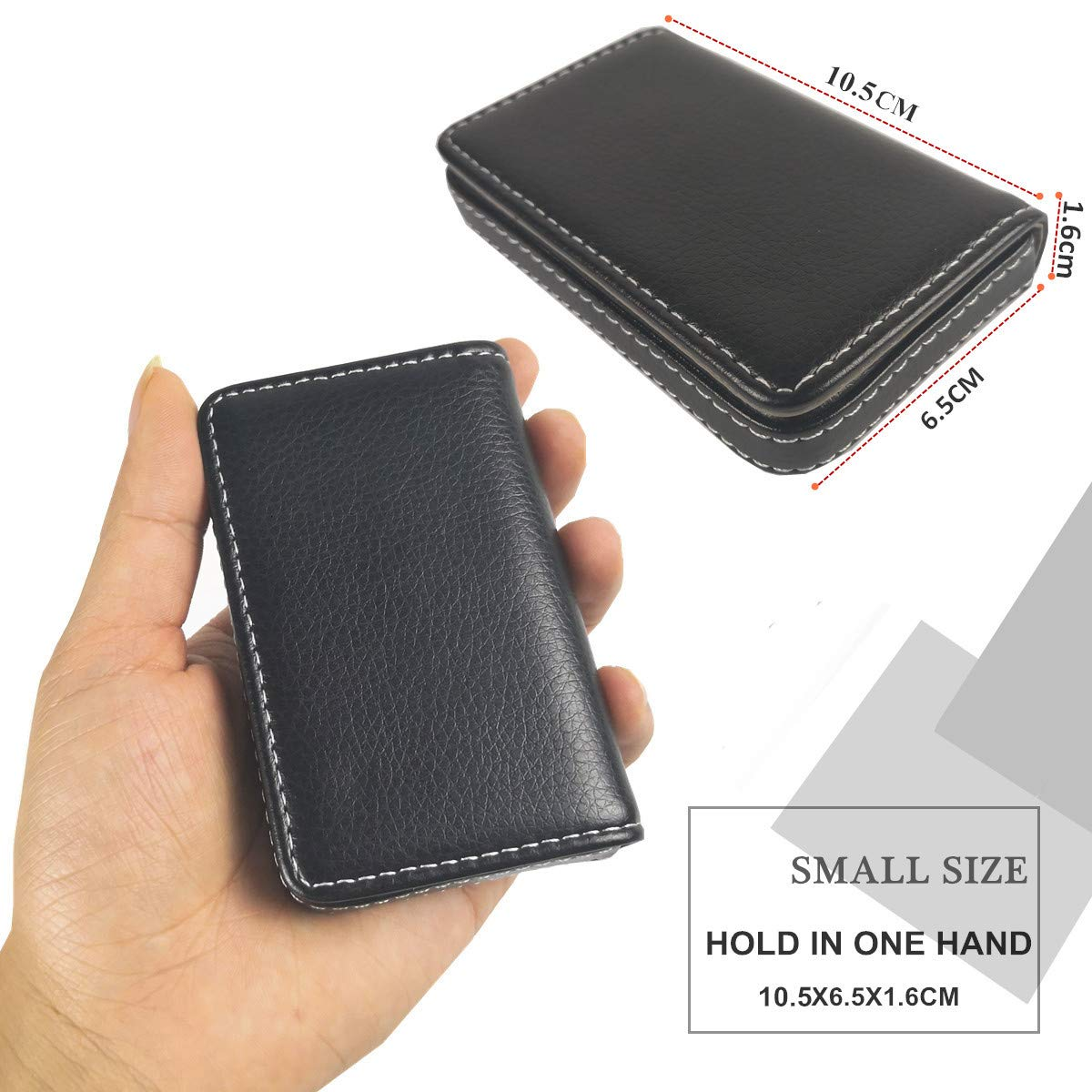 Lucstar Women Men Business Cards Holder Case Personalized Large Capacity Badge Organizer Elegant Portable Small Wallet Durable Faux PU Black
