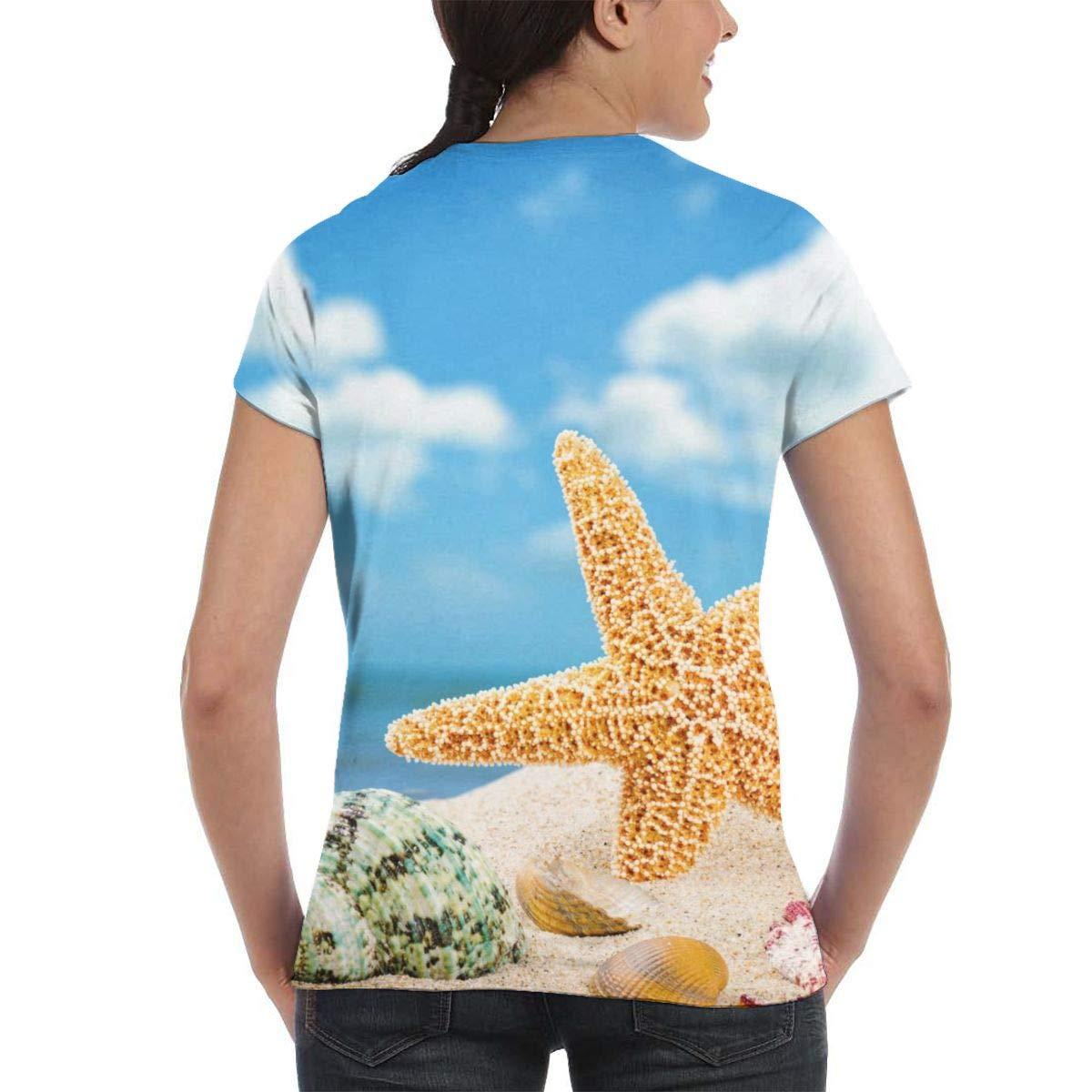 NuoKeSi Network Beach Shells and Starfish Womens Fashion Round Neck Loose Sports Casual T-Shirt Wild Short Sleeve