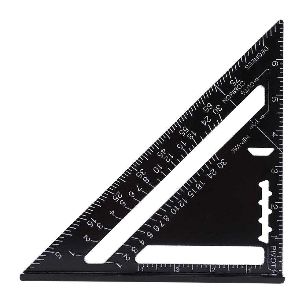 Angle Protractor,7 Inch Metric Aluminum Alloy Black Oxidation Roofing Triangle Angle Protractor Layout Guide(Imperial)