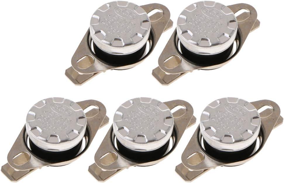 5x Interruptor de Temperatura Abierto para Aparatos El/éctricos Electrodom/éstico Plata 110 ℃