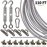 Globe String Light Suspension Kit, Ourdoor String Lights Guide Wire Hanging Kit. 110 ft Cable with Turnbuckles Pad Eyes and Hooks