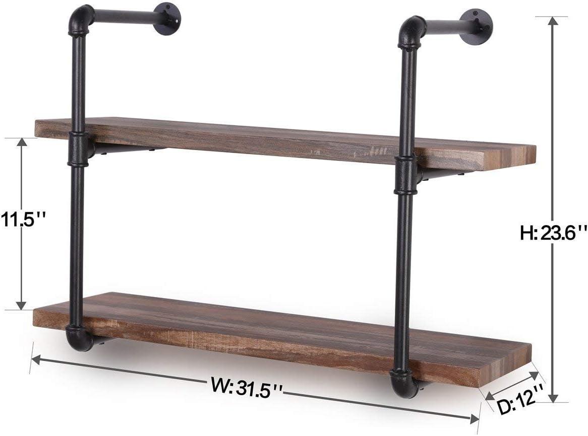 K222 Wall Wooden Floating Shelf for Office,Bedroom 40in8in0.8in2Tier