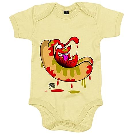 Body bebé Perro salchicha hot dog mixto - Amarillo, 6-12 meses