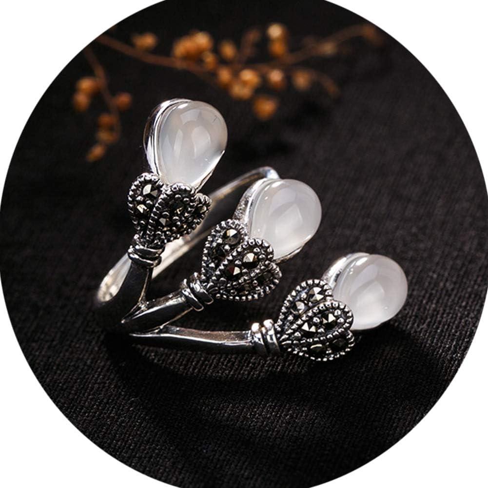 Mujer Collar Anillos Plata De Ley Piedras Preciosas Naturales Topacio/Jade Verde/Granate/Piedra De Arena Azul/Jade Blanco Hecho A Mano Joyas
