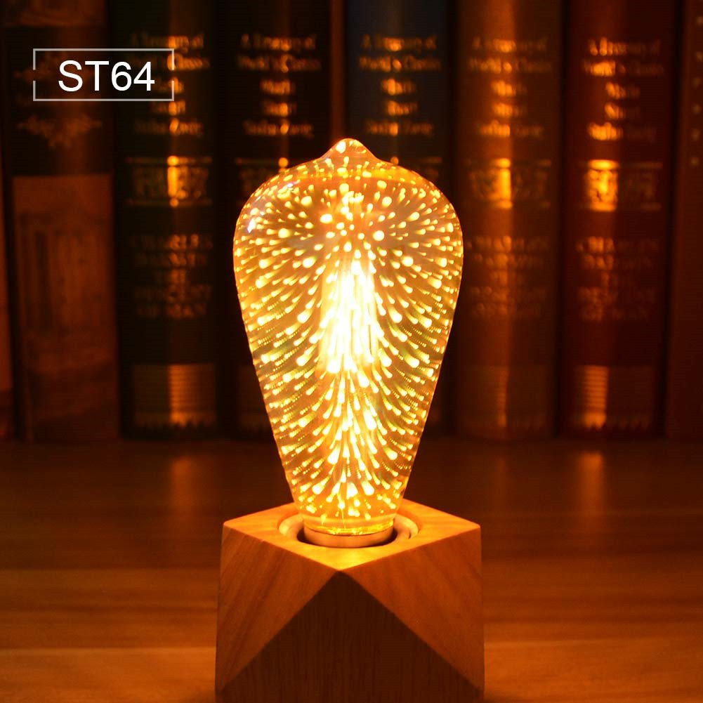 AIMENGTE 3D Firework Led Bulb, 3D Fireworks Light Bulb, E27 AC85V-265V 4W Colorful RGB Decoration Creative Vintage Light Bulb Christmas Holiday Decoration ...