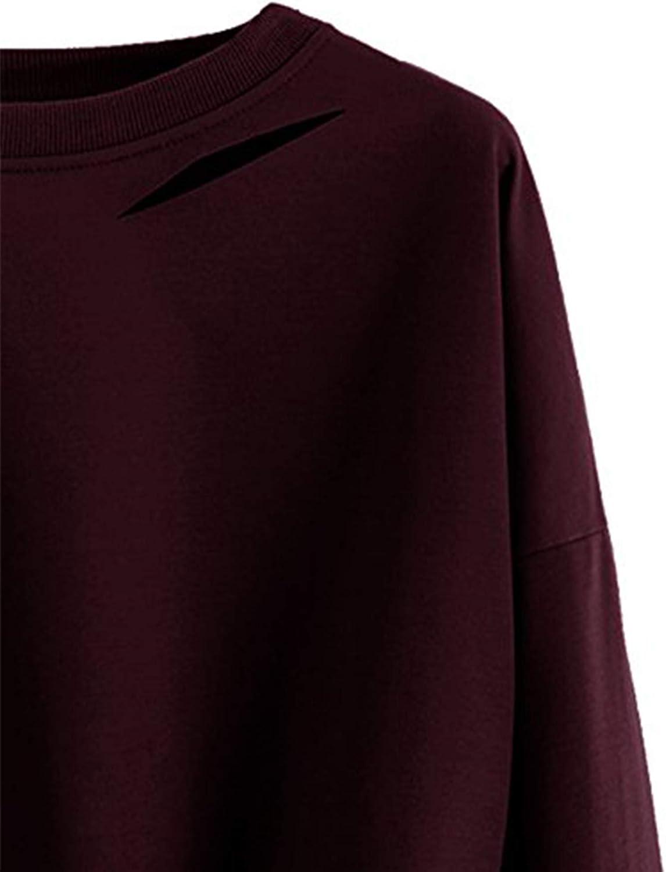 SweatyRocks Womens Long Sleeve Crop T-Shirt Distressed Ripped Cut Out Tee Tops