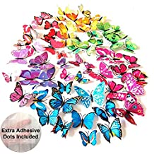 ElecMotive® 72 Pcs 6 Packs Beautiful 3D Butterfly Wall Decals Removable DIY Home Decorations Art Decor Wall Stickers & Murals for Babys Bedroom TV Background Living Room (72 pcs in 6 Colors)