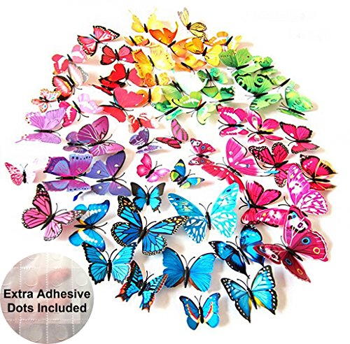 ElecMotive 72 Pcs 6 Packs Beautiful 3D Butterfly Wall Decals Removable DIY Home Decorations Art Decor Wall Stickers & Murals for Babys Bedroom TV Background Living Room (72 pcs in 6 Colors) by ElecMotive