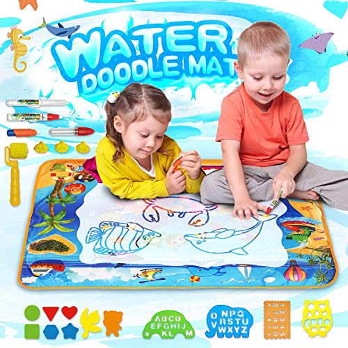 MOZOOSON Water Doodle Mat, X-Large Water Drawing Mat 100X70cm for Kids, Mess-Free Aqua Magic Doodle Mat with 24 Accessories, Educational Toy for Toddlers Boys Girls Age of 2 3 4 5 6 7 8
