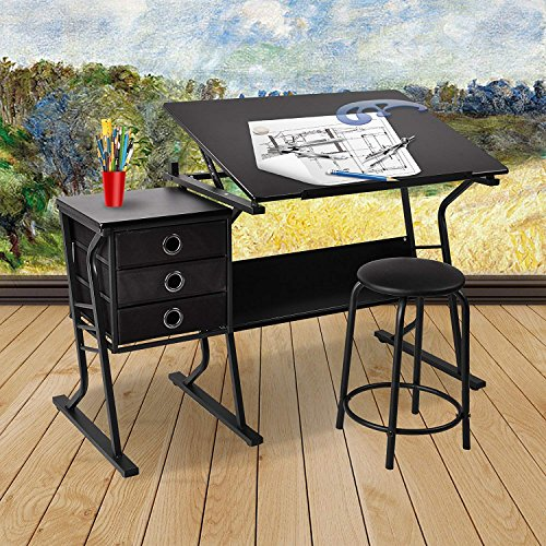 Mecor Adjustable Art Drawing Desk Drafting Table, Art Craft Station with Three Drawers and Stool, Black