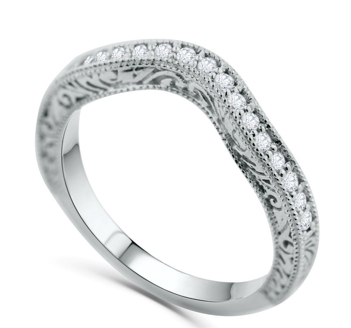 14K White Gold Wedding Band Anniversary Ring Filigree Sides 1/4ctw Diamonds Curved Band by Midwest Jewellery