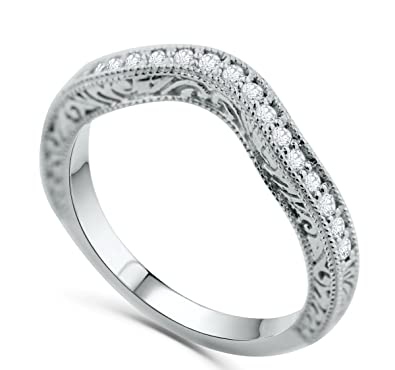 Filigree Wedding Band.Amazon Com 14k White Gold Wedding Band Anniversary Ring Filigree
