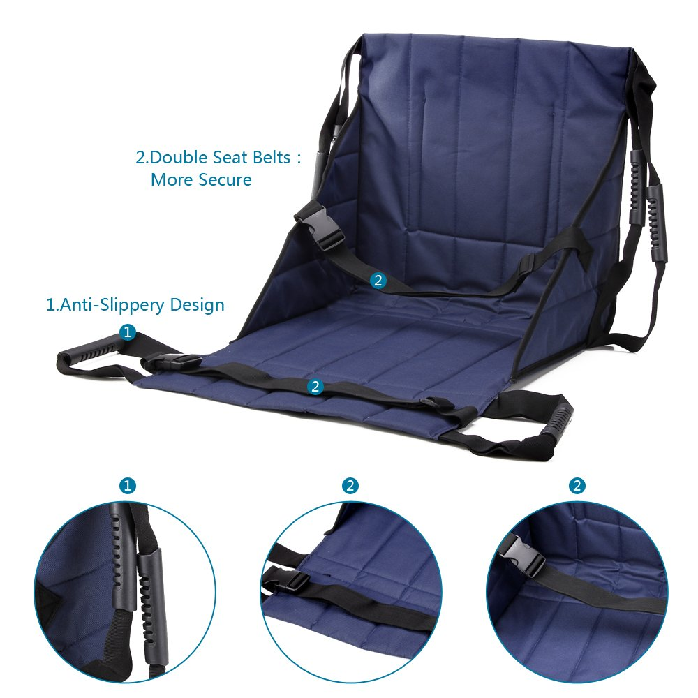Patient Lift Stair Slide Board Transfer Emergency Evacuation Chair Wheelchair Belt Safety Full Body Medical Lifting Sling Sliding Transferring Disc Use for Seniors,handicap (Blue - 4 Handles) by NEPPT (Image #4)