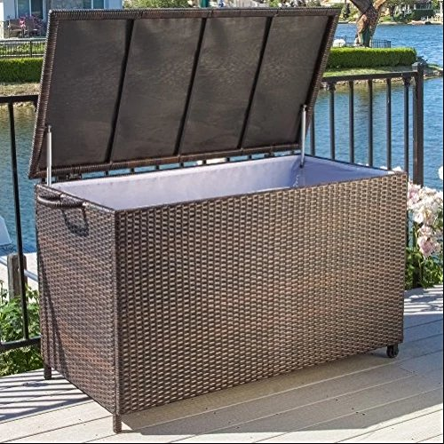 Outdoor Decor Furniture Anistan 150 Gallon Wicker Deck Box 54.33L x 26W x 29.13H in. - Brown by Best Selling Home