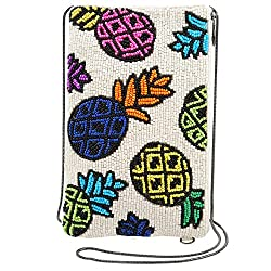 Night Garden Beaded-Embroidered Crossbody Phone Bag
