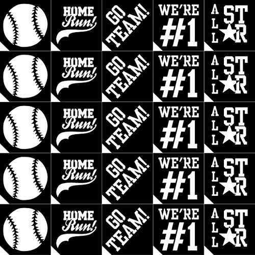 25pc. Team Spirit Glitter Tattoo Stencil Set - Baseball ~ Single Use/Self Adhesive