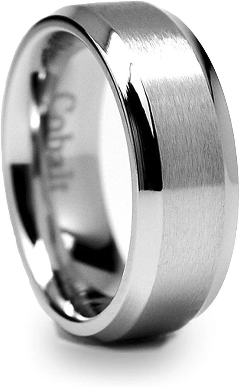 Men/'s 8mm Titanium Wedding Band Engagement Ring Flat Brushed Center Shiny Edge
