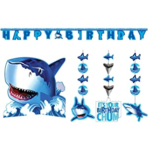 Shark Splash Party Decorations Supply Pack - Hanging Cutouts, Banner, and Centerpiece