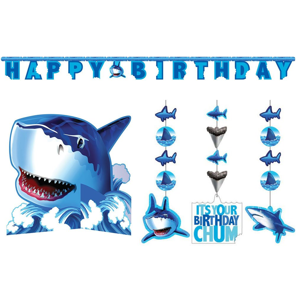 Shark Splash Party Decorations Supply Pack - Hanging Cutouts, Banner, and Centerpiece by Cedar Crate Market