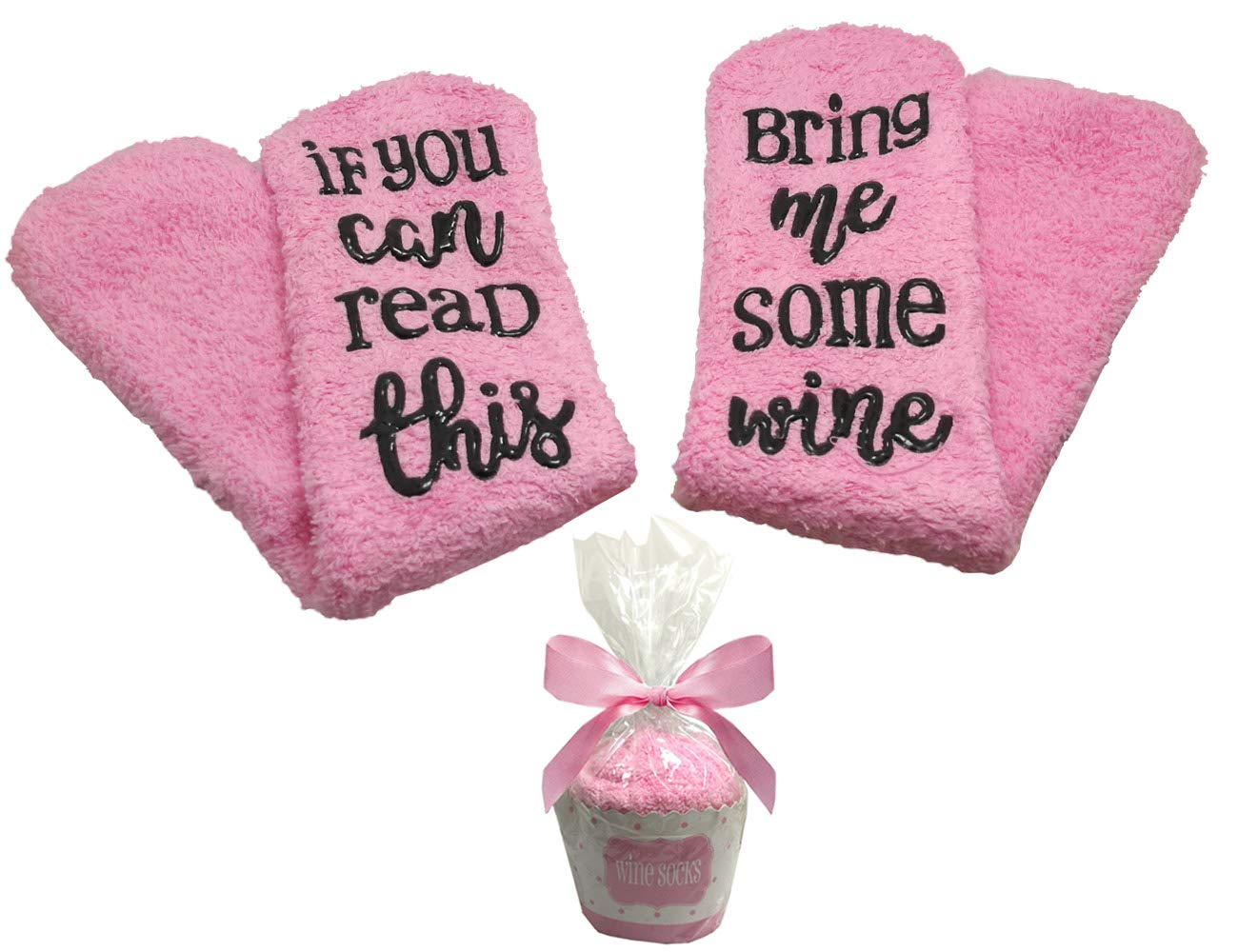 Wine Socks With Gift Packaging If You Can Read This Bring Me Some Wine Novelty Socks Funny Gifts for Her/Wife/Mom/Hostess/Wine Lovers Unique Joke Women Gift for Birthday, Christmas (Pink)