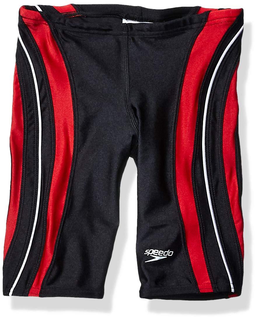 Speedo Men and Boys' Xtra Life Lycra Rapid Splice Jammer Swimsuit, Black/Red, 36 by Speedo