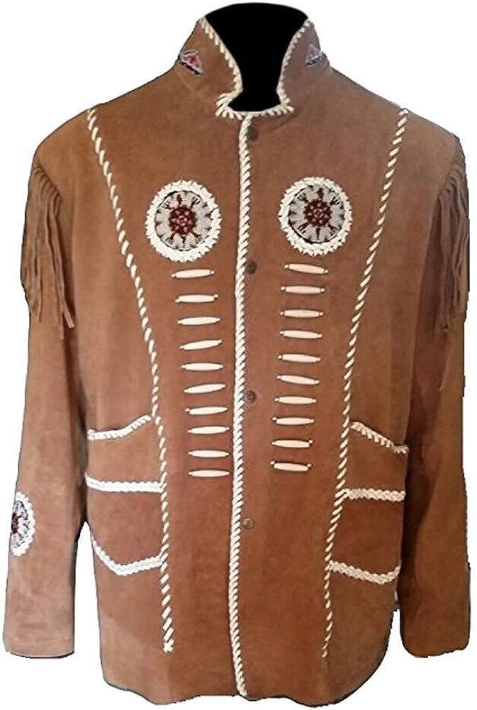 SleekHides Mens Western Indian Suede Leather Jacket Fringed Bone Beads