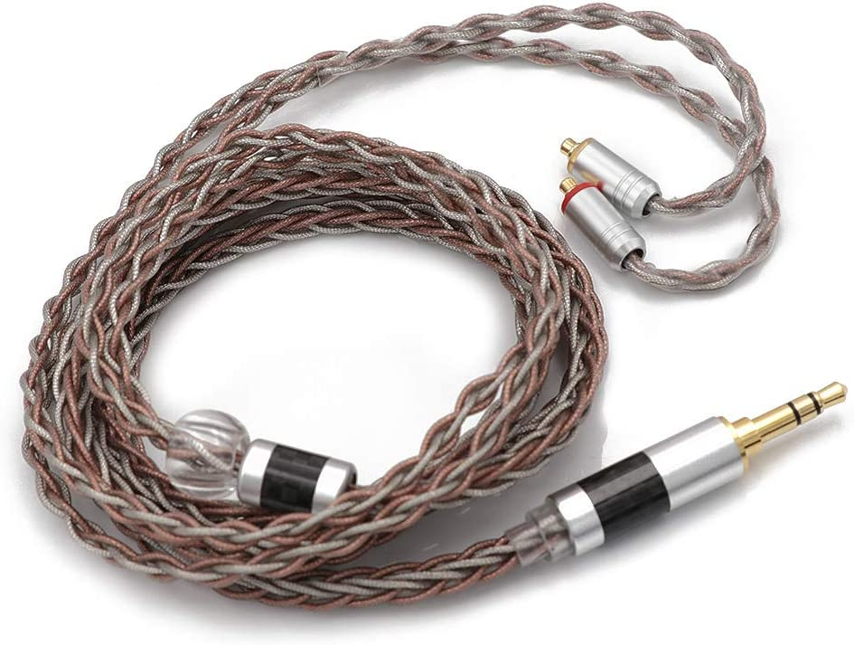 Tinsel Silver Copper Wire for KZ ZSN Pro 4.4mm Plug, QDC connector ZS10 Pro NF2u Linsoul TRIPOWIN C8 8-Core Silver Copper Foil Braided Earphone Replacement Upgrade Cable QDC IEMs