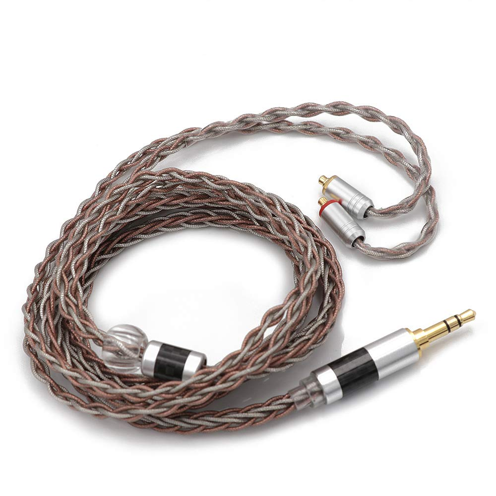 Linsoul TRIPOWIN C8 8-Core Silver Copper Foil Braided Earphone Replacement Upgrade Cable, Tinsel Silver Copper Wire for UE900s SE215 SE425 TIN Audio T2 T3 BGVP(3.5mm Plug, MMCX Connector)
