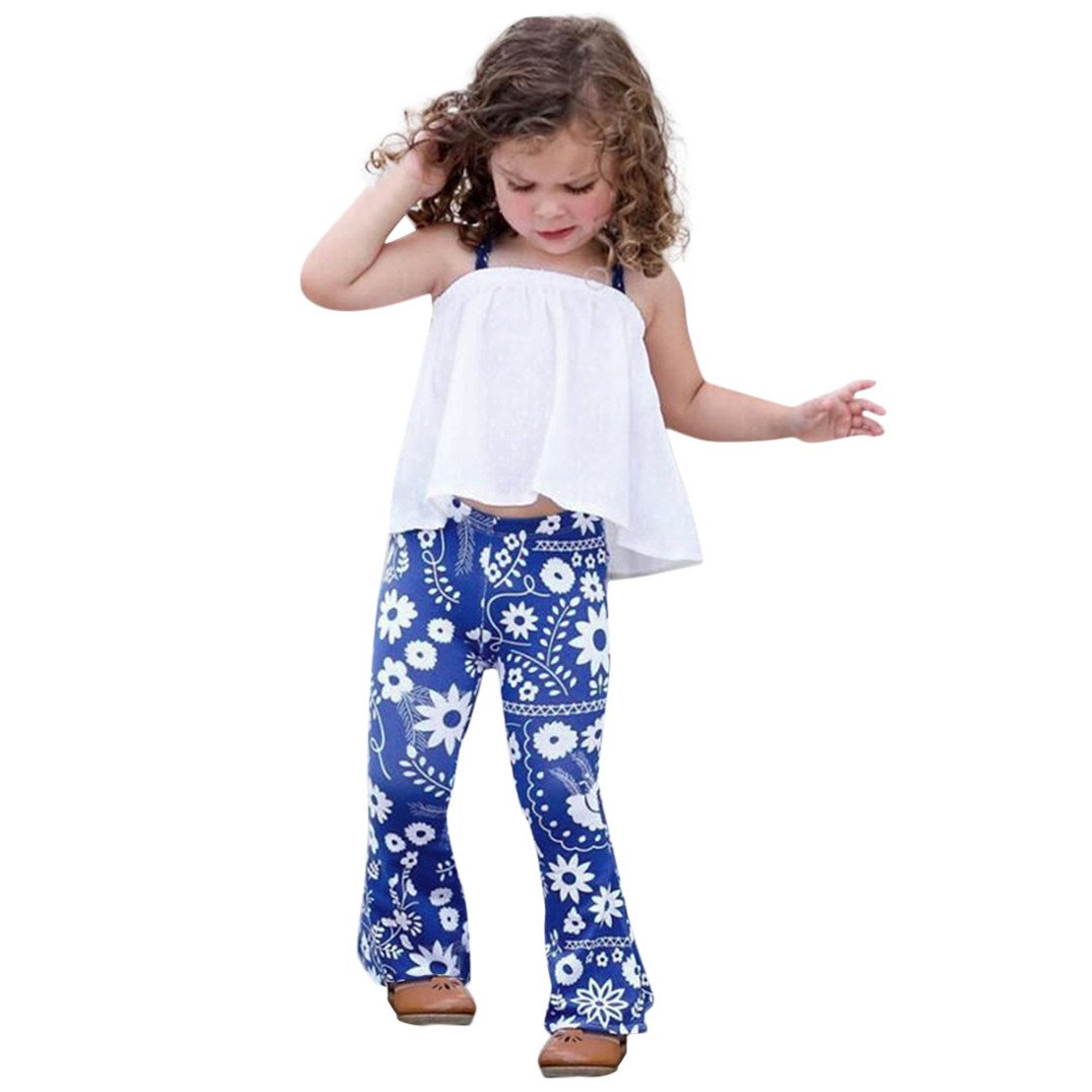 ZHANGVIP 2018 New 2Pcs Toddler Baby Kids Girls Solid Off Shoulder Tops+Floral Pants Set Outfits (5T, Blue)