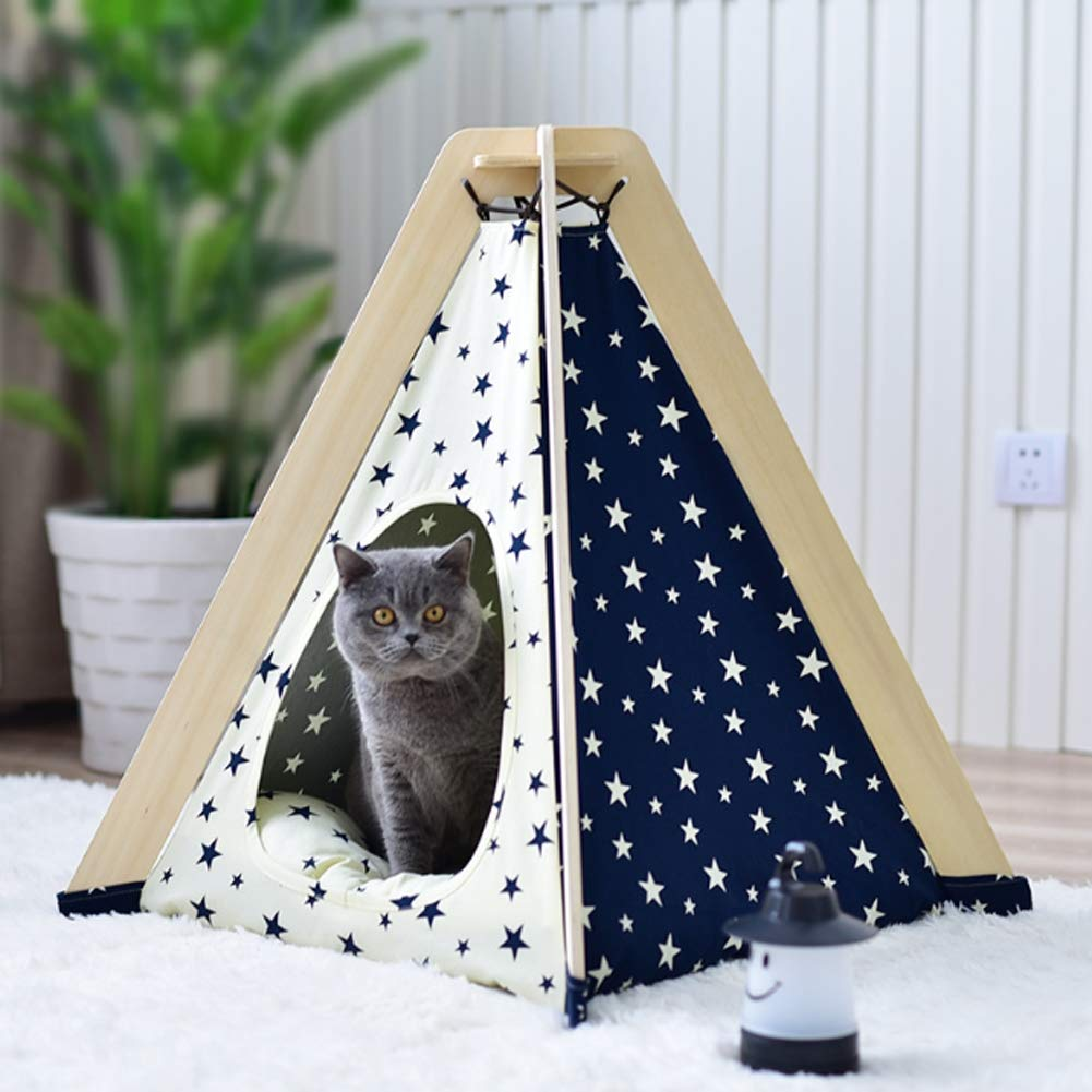 Curvedstar Nopad Curvedstar Nopad Curved Star Pet Tent Dog Bed Portable Puppy Cat Teepee with Cushion Four Seasons Resting Place Toy House Shelter,CurvedStar,Nopad