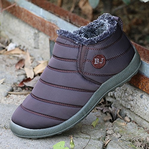 Oto Deportes Alta Botas Calentar Botines Nieve Boots De Plano Botines o caf Zapatos Minetom libre Mujer al Hombre BJ aire Invierno q4wfAEI6n