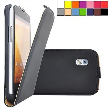 COOVY® Funda para LG LG Google Nexus 4 E960 cubierta delgado, con tapa, lámina protectora de pantalla | color negro