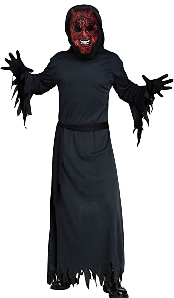 Kids Fancy Dress Death Scream Costume w//Mirrored Mask Grim Reaper Halloween Boys
