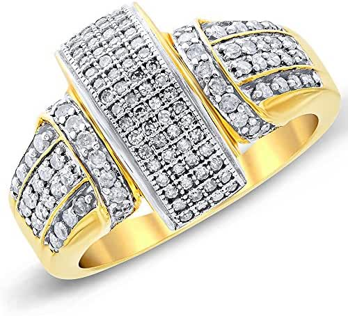 Women's 0.60CTW Diamond Pave Accented Arch Solid 10K Yellow Gold Ring