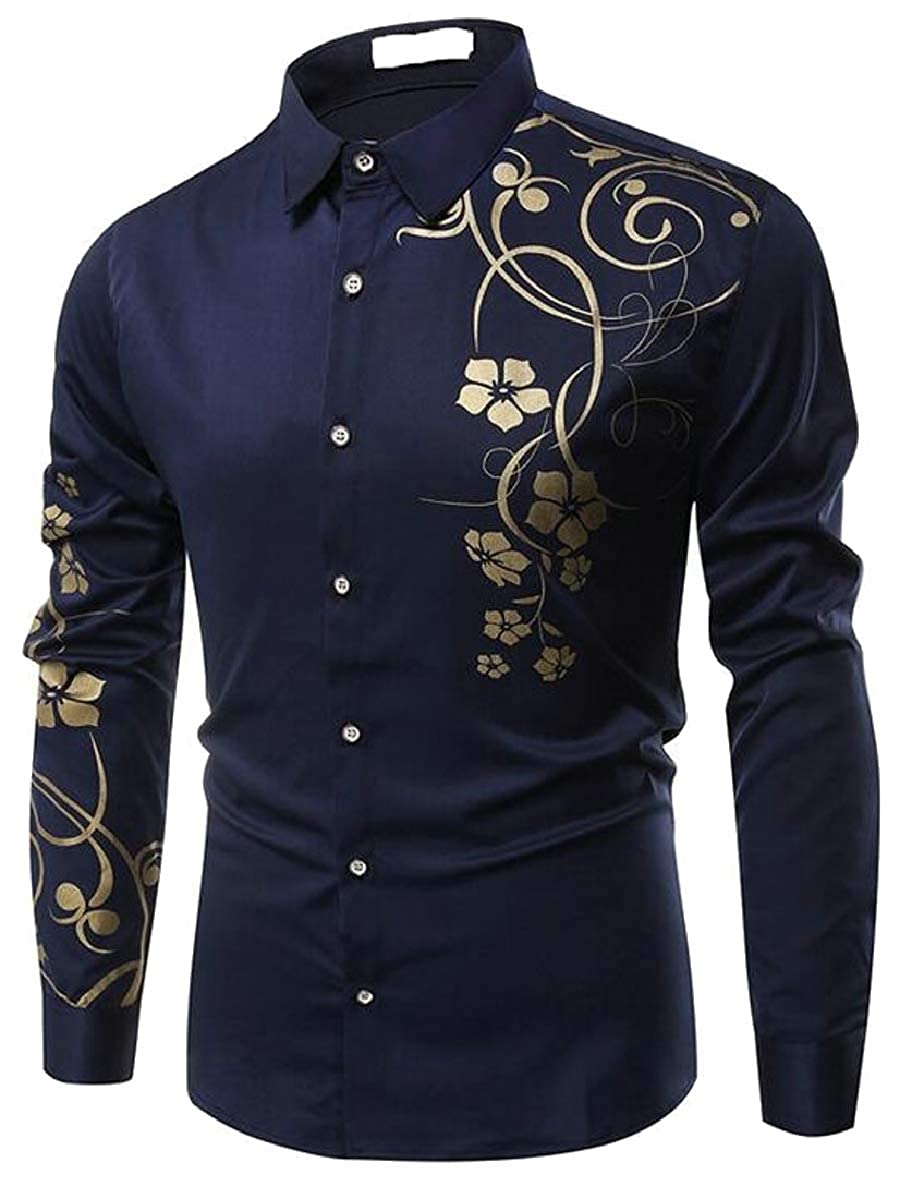 YIhujiuben Men Simple Slim Floral Print Long Sleeve Button Down Shirt Tops