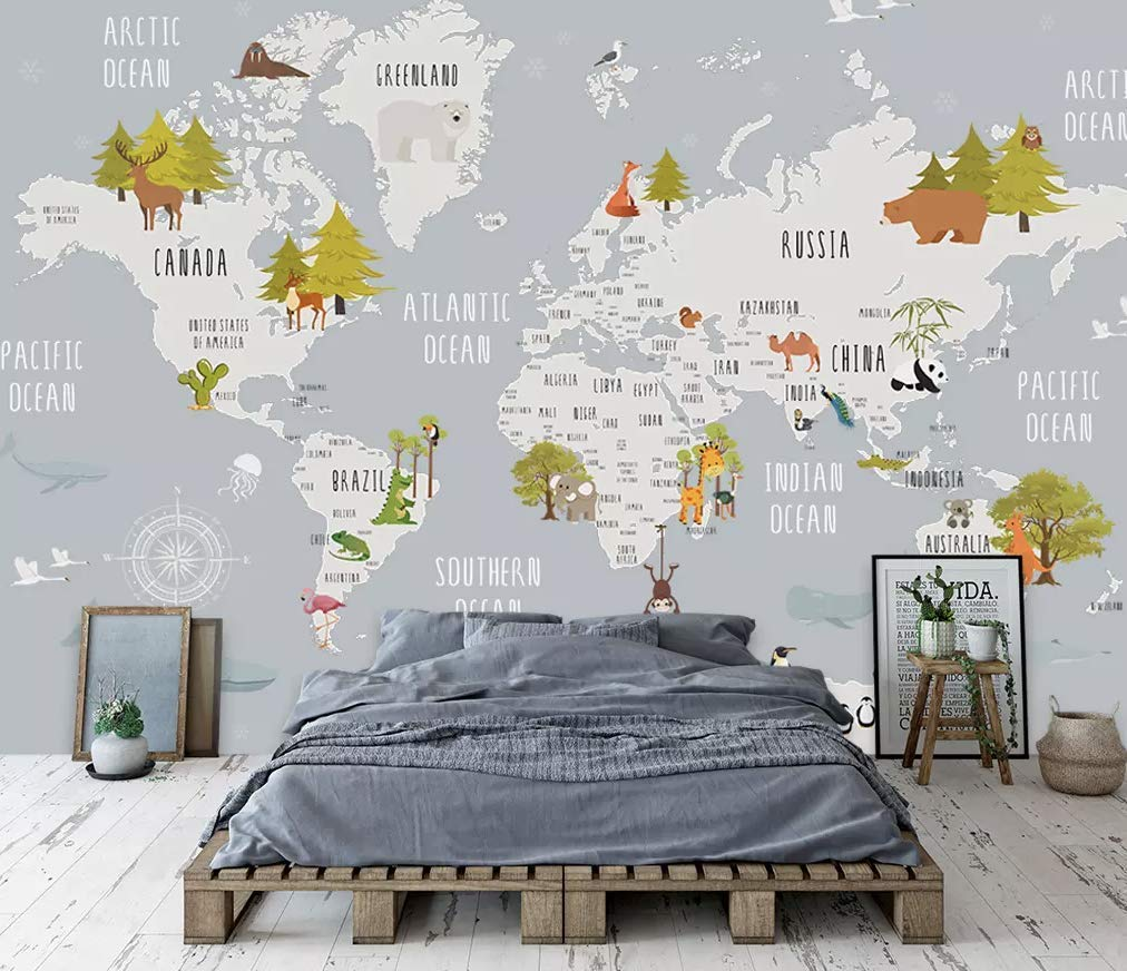 Map Of Canada For Kindergarten.Amazon Com Murwall Kids Map Of The World Nursery Wallpaper Animal