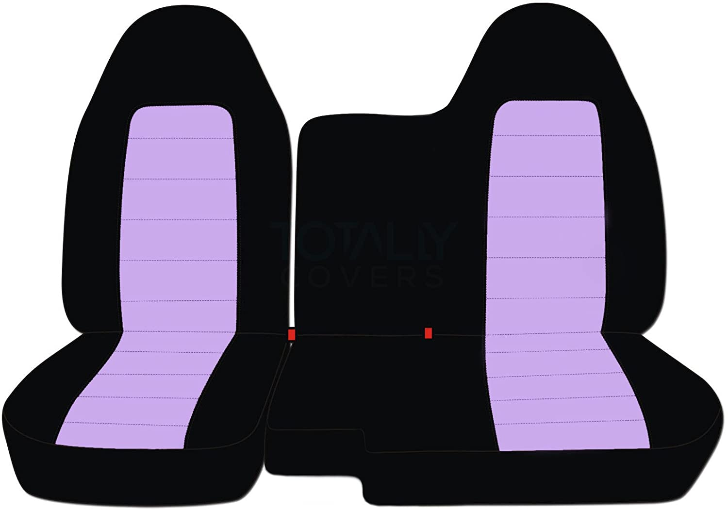 Designcovers 1998-2003 Ford Ranger/Mazda B-Series Two-Tone Truck Seat Covers (60/40 Split Bench) - No Armrest/Console: Black and Blue (21 Colors) 1999 2000 2001 2002