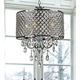 4-light Round Hanging Crystal Chandelier Pendant Ceiling Fixture, Chrome Finish Review