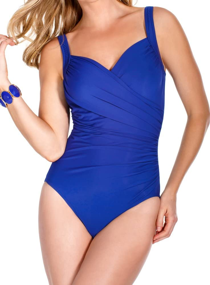 Electric Blue Swimsuit Miraclesuit Womens Solids Sanibel One-Piece DD-Cup