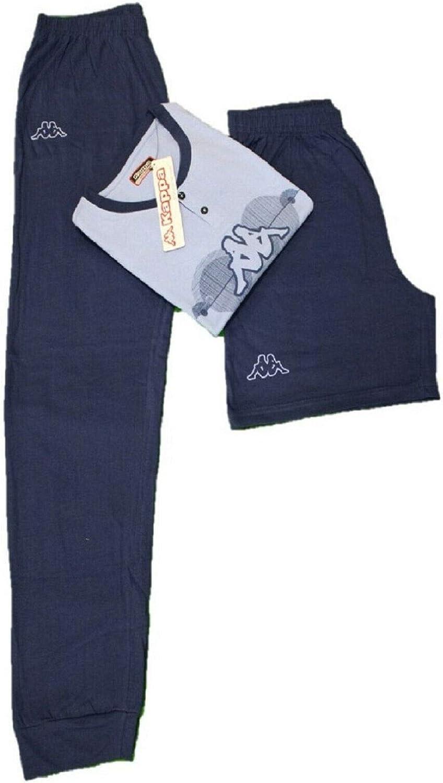 Azzurro, M Viterbo Biancheria Pigiama Uomo Cotone Kappa 3 Pezzi Manica Corta Pantaloncino e Pantalone
