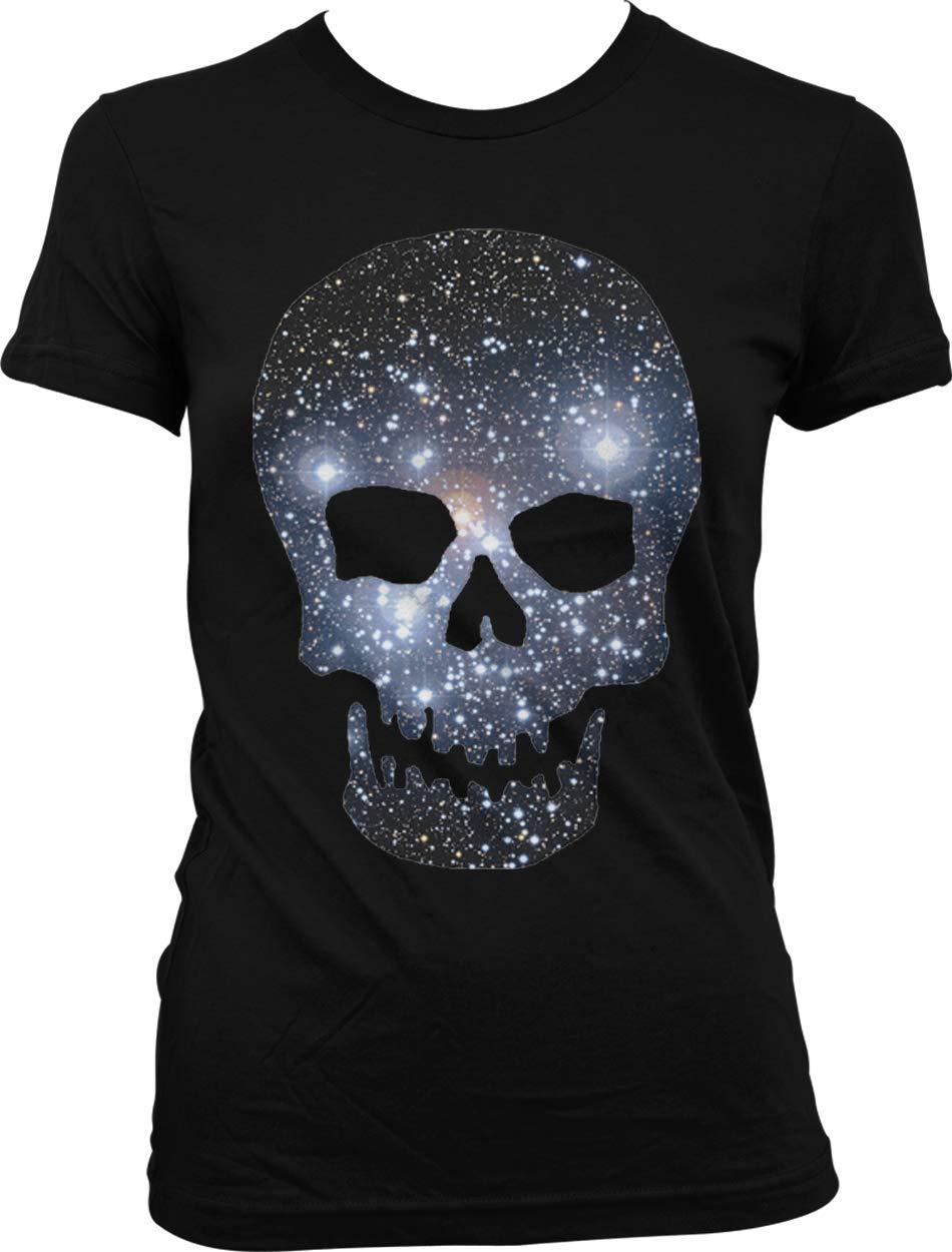Hoodteez Galaxy Pattern Skull, Space Skull Juniors T-Shirt