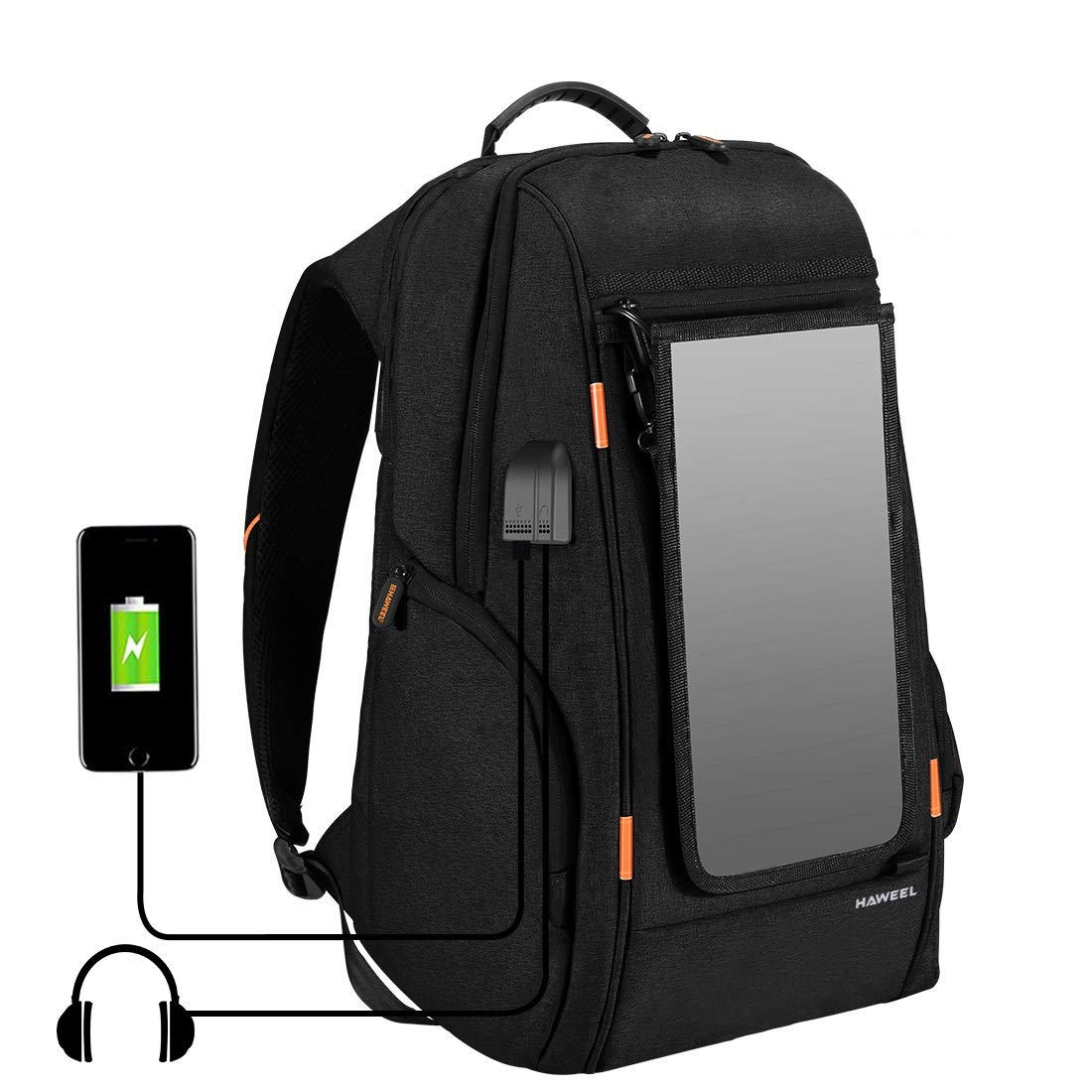 HAWEEL External Frame Backpack with 7 Watts Solar Panel Charge for iPhone iPad iPods Android Smart Phones Perfect for Hiking Camping Trekking Fishing Emergency and Outdoor Sports by HAWEEL