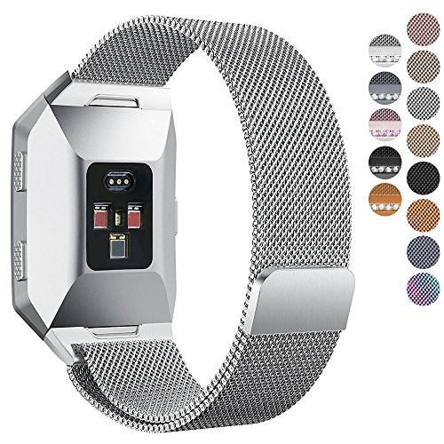 Fitbit Ionic Bands, hooroor Fully Magnetic Closure Clasp Mesh Loop Milanese Stainless Steel Ionic Band for Fitbit Ionic Smartwatch (Silver - Iconic Whats